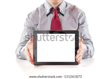 young  business man executive using a digital pc tablet - stock photo