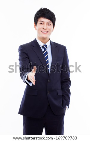 Young business man extending hand to shake isolated on white background.  - stock photo