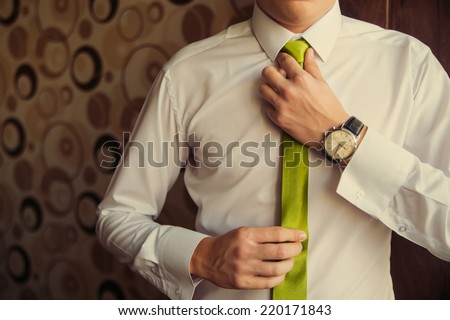Young Business Man Fixing his Tie - stock photo