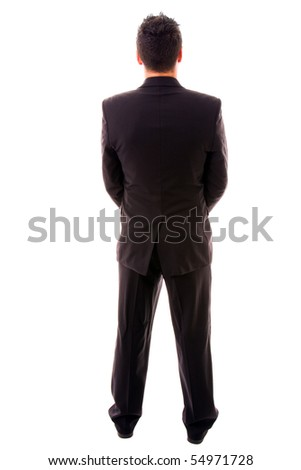 young business man full body from back, on white background - stock photo