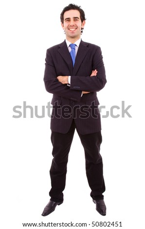 young business man full body in a white background - stock photo