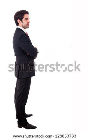 Young business man full body standind isolated on white background - stock photo