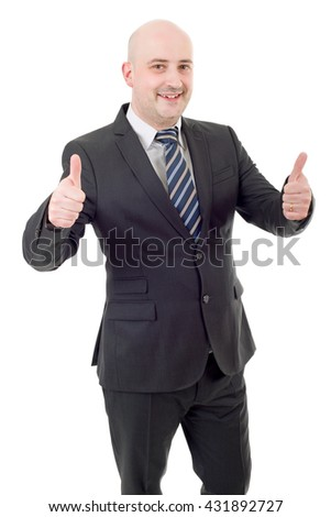 young business man going thumbs up, isolated on white - stock photo