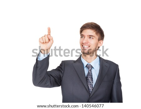 young business man happy smile point finger empty copy space, businessman showing side, concept advertisement product push touch screen, pressing digital virtual button isolated over white background - stock photo
