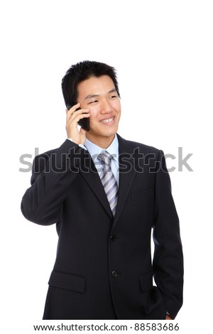 Young Business Man happy Speaking mobile phone, isolated on white background - stock photo