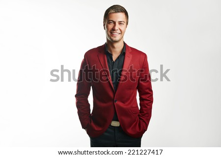 young business man holding isolated on white background - stock photo