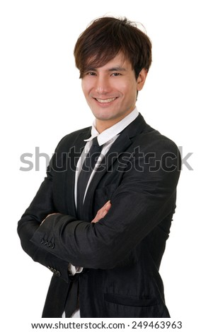 Young business man of Asian, closeup portrait on white background. - stock photo