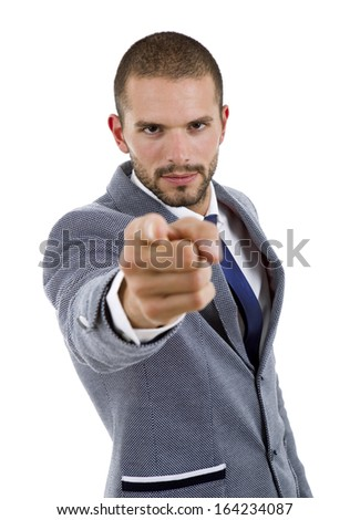young business man pointing isolated on white - stock photo