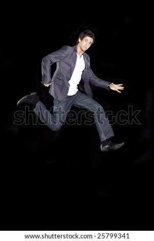 Young Business Man Running in the Air - stock photo