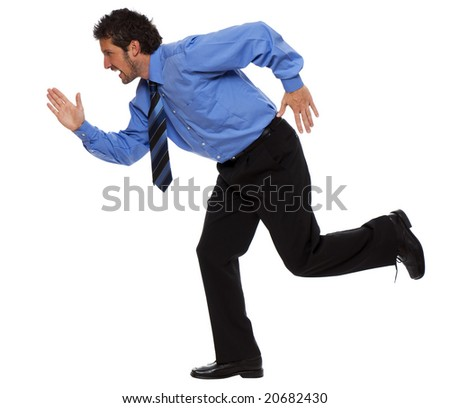 young business man running isolated on white - stock photo