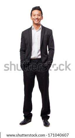 young business man standing isolated on white background - stock photo