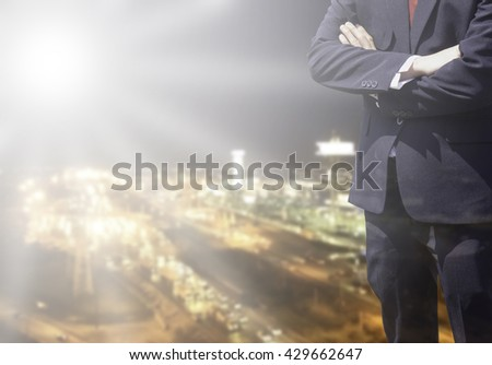 Young business man success or soft Business man success in he work on marketing online business or internet with global learning on over blurred top business city view with light flare from corner.  - stock photo