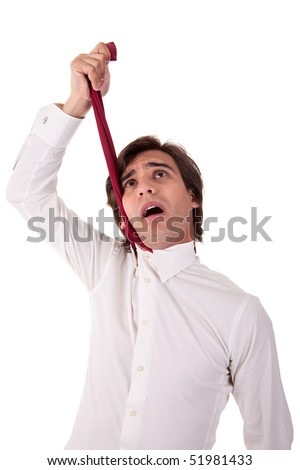 young business man to hang himself, isolated on white background. Studio shot. - stock photo