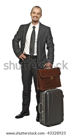 young business man travel isolated on white background - stock photo