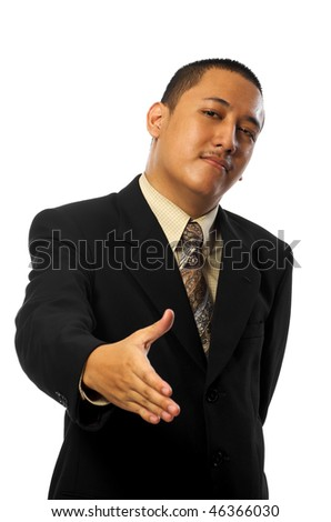 Young business man want to shake hand isolated on white background - stock photo