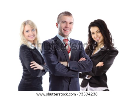 Young  business man with his colleagues - elite business team - stock photo