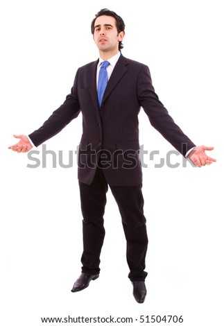 young business man with open arms, in a white background - stock photo