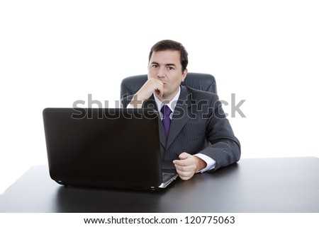 young business man working with is laptop, isolated - stock photo