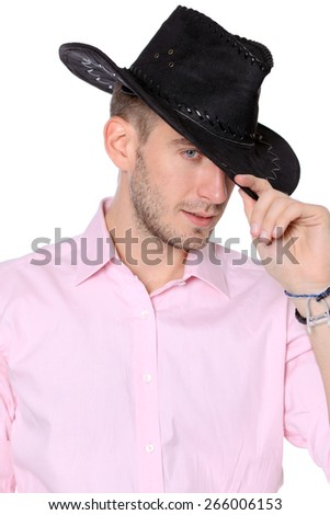 Young business men with cowboy hat portrait, isolated on white background - stock photo