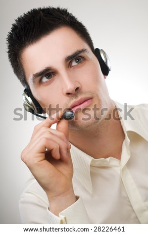 young business men with headphones close up - stock photo