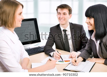 Young business people are working in the meeting room. - stock photo
