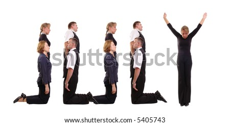 Young business people forming July word over white - business calendar concept - stock photo