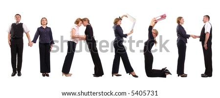 Young business people forming March word over white - business calendar concept - stock photo