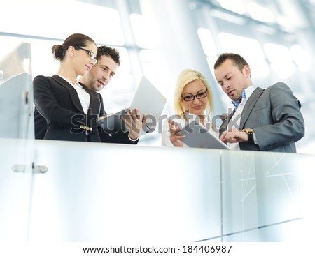 Young business people having conversation - stock photo