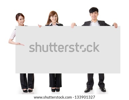 Young business people hold blank board with copyspace, full length portrait isolated on white background. - stock photo