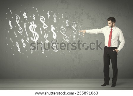 Young business people with hand drawn dollar signs concept - stock photo