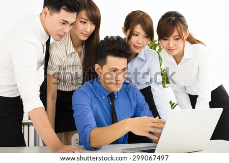 young business people working together at  meeting - stock photo