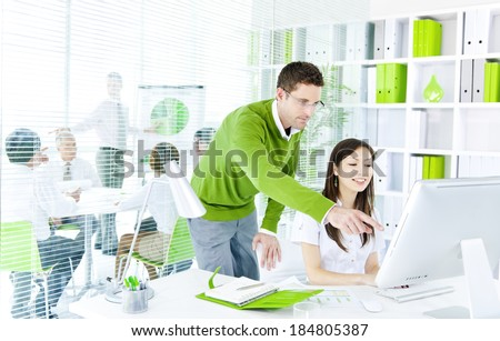 Young Business People Working Together in Green Office - stock photo