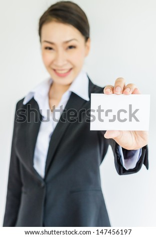 Young business show empty card - stock photo