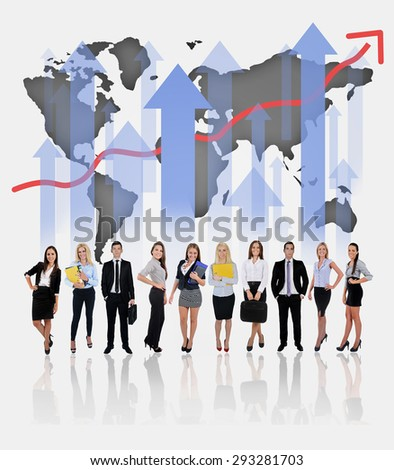 Young business team and chart on blue background - stock photo