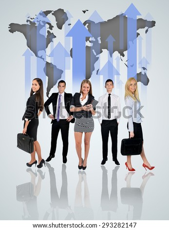 Young business team and world map char on blue background - stock photo