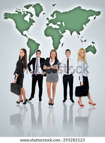 Young business team and world map on blue background - stock photo