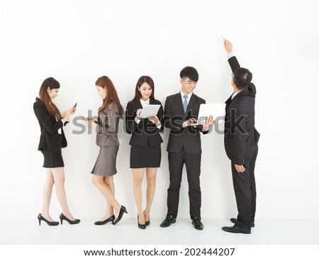 young business team enjoy technology lifestyle - stock photo