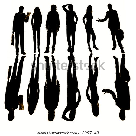young business team in silouette, isolated on white - stock photo