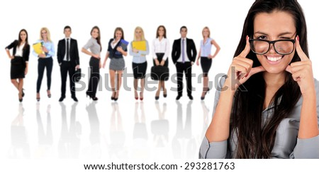 Young business team on white - stock photo