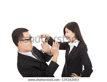 Young business woman angry with her colleague - stock photo