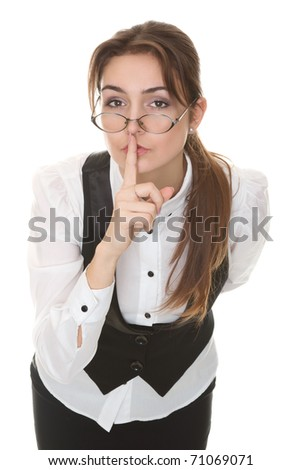 Young business woman asks for calm - stock photo