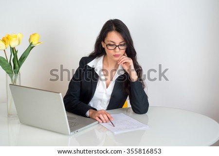 young business woman at office - stock photo