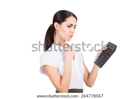 Young business woman calculating finance and thinking isolated - stock photo