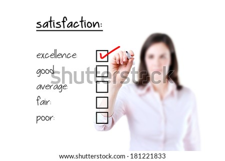 Young business woman checking excellence on customer satisfaction survey form, white background.   - stock photo