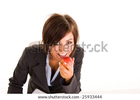 young business woman eating an apple - stock photo