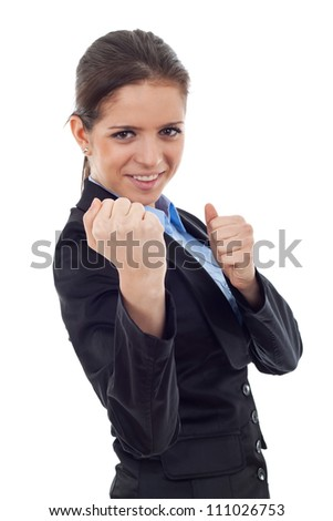 young business woman fighting with you - en garde position on white background - stock photo