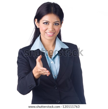 Young Business woman gesturing handshake on the white background - stock photo