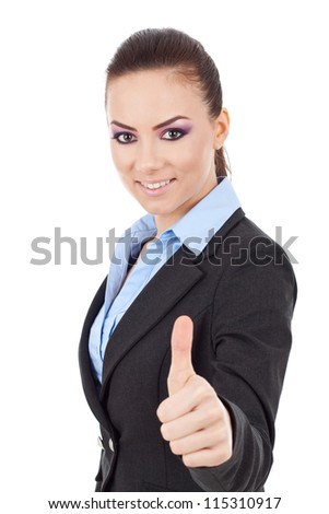 young business woman giving thumbs up isolated on white white background - stock photo