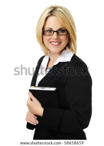 Young business woman holding organizer isolated on white - stock photo