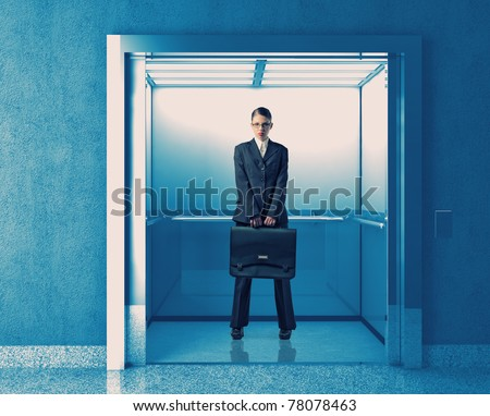 young business woman in 3d elevator - stock photo